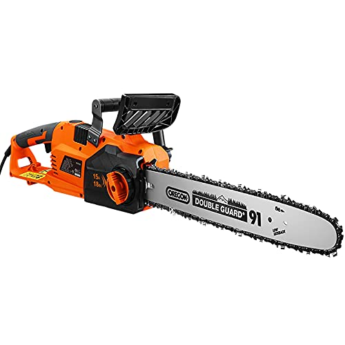 Electric Chainsaw, 18-Inch 15-Amp Corded Chainsaw, Oregon chain, Copper Motor, 0.12s Machanical Brake and Spike Bumber Included, Self-lubrication, Tool-free Tensioning -GCS15B