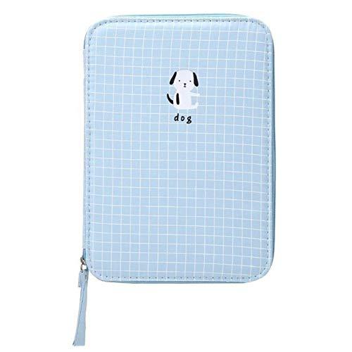 Suministros de oficina linda bolsa de almacenamiento de lona creativa bolsa de lápices de gran capacidad para estudiantes, oficina, papelería, herramienta de almacenamiento de doble capa (color: azul)
