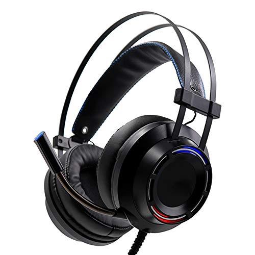 IOIOA Head-Mounted Gaming Headset Wired Stereo-Ohrhörer 50Mm Magnetspule Einheit Kopfhörer mit Mikrofon LED-Licht für Computer PC Gamer