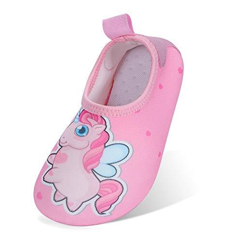 MASOCIO Escarpines Niña Antideslizante Calcetines Zapatos de Agua Verano para Playa Piscina Natacion Talla 31 32 EU Rosa