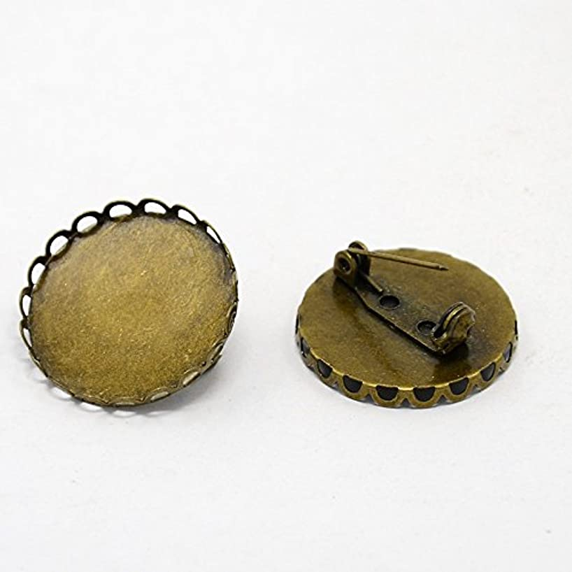 PEPPERLONELY 5PC Antique Bronze Brass Flat Round Pad Cabochon Base Brooch Backs with Safety Pins Settings 25mm