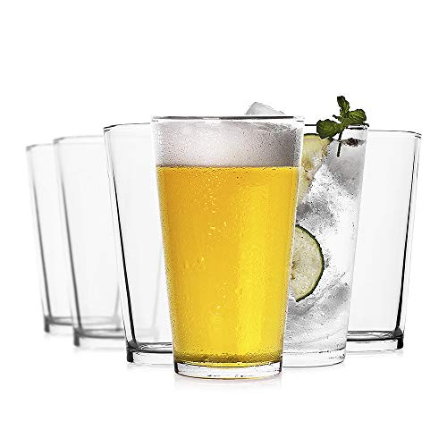 LUXU Classic Beer Pint Glasses16 ozPremium Pub Beer Glasses with Thick BaseVersatile Cocktail Shaker Beer GlassClear Glass Bar Tumblers Cocktail Mixing Glass for Cold Beverages Soda Water6Pcs