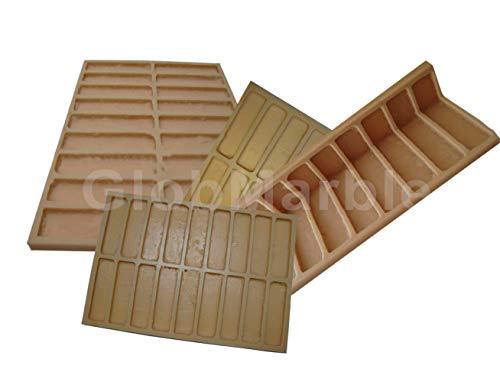 GlobMarble Concrete Mold 4 Pc Set. Concrete Veneer Paver Old Brick Stone Mold 611 Brick