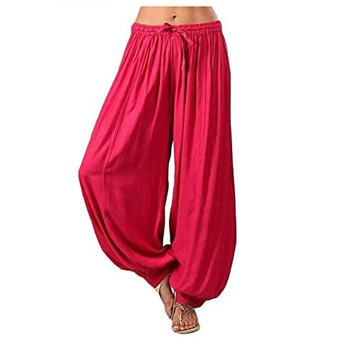 TUDUZPantalones De Harén Tailandés Mujer Holgado Boho Hippy Pantalones DeportivosImpresión Playa Pantalones Leves(S Rojo,XXL)
