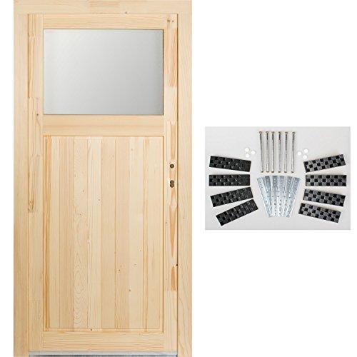 kuporta Fichte Holz Nebeneingangstür Modell Treysa Kellertür 98 x 198 cm DIN rechts mit Montage-Set