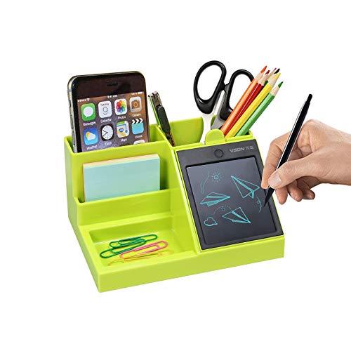 Desktop Organizer multifunzionale con LCD Writing Tablet per penna/biglietto da visita/telefono cellulare/stoccaggio di materiale per ufficio