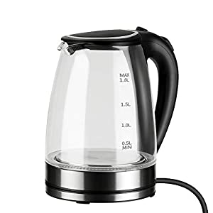 Famgizmo Glass Electric Kettle,1.8L Fast Boil Water Kettle with Illuminated LED, Auto-Off & Boil-Dry Protection, BPA-Free, 2200W