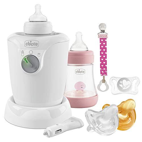 Chicco Perfect 5 Starter Set de lactancia, para niña, Biberón anticólico, Clip, calentador de biberones, gomas, rosa