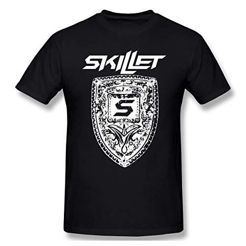 QIAOJIE Skillet Band Herren Kurzarm T-Shirt mit rundem Halsausschnitt