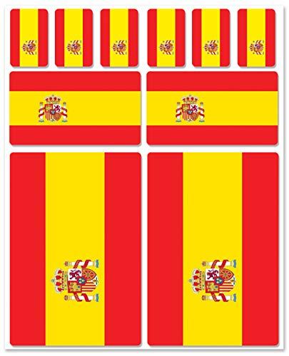 Biomar Labs® 10pcs Pegatina España Spain Flag Bandera Vinilo Adhesivo Coches Cascos Motos Ciclomotores Bicicletas Ordenador Portátil D 20