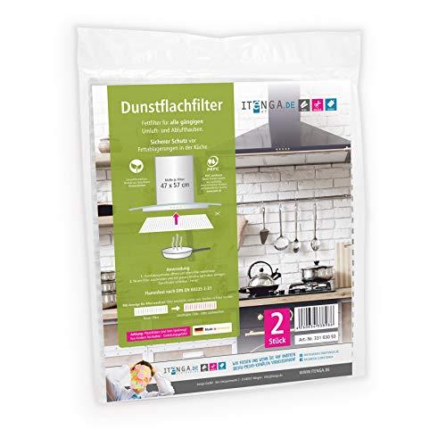 itenga Universal Filter Kohlefilter Aktivkohle & Fettfilter Dunstabzugshaube Umlufthaube Ablufthaube zuschneidbar umweltfre&lich kompostierbar 47x57cm (Dunstflachfilter)
