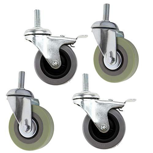 4 ruedas de 75 mm (3 pulgadas) con orificio de freno con...
