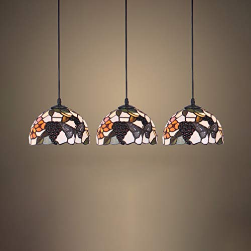 Pendant Light, XINDAR 3 Head Multi-Color Dome Pendant Lighting Tiffany Rustic Stained Glass Hanging Light for Balcony (Fruit)