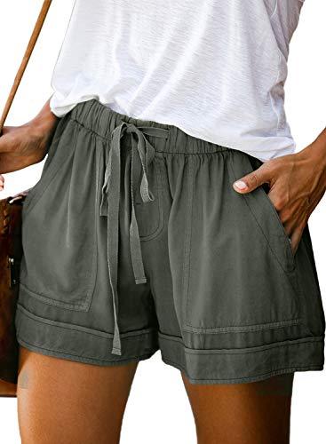 FZ FANTASTIC ZONE Womens Casual Shorts Elastic Waist Drawstring Pockets Summer Workout Short Pants Green