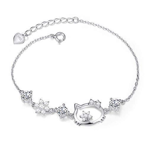 LINGQIERQI Pulsera de Mujer 925 Plata esterlina Moda Hello Kitty Charm Joyería Debugable