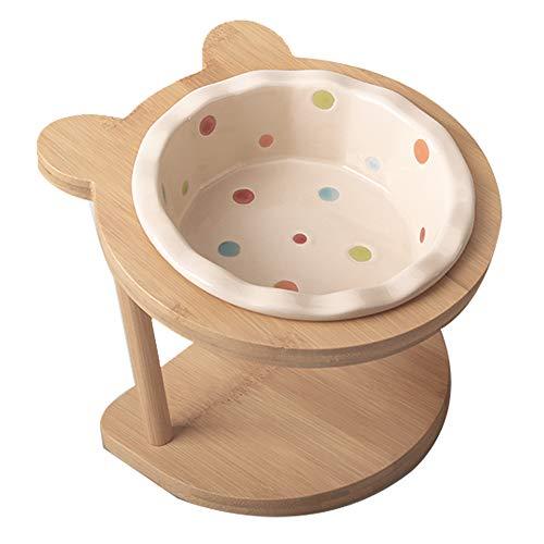 猫 えさ 皿 陶器 猫 食器 台 フード ボウル スタンド セット ペット用品 お皿 小型 犬 食器 おしゃれ 傾斜台食べやすい 負担を軽減 食べこぼれにくい 清潔を保ち(水玉)