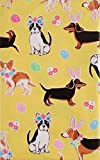 Happy Easter with Dogs Vinyl Flannel Back Tablecloth (Yellow, 60' Round)