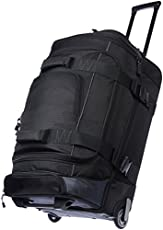 Amazon Basics Ripstop Rolling Travel Luggage Duffle Bag With Wheels - 28.5 Inch, Black