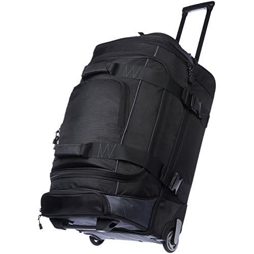 AmazonBasics - Borsone da viaggio con ruote, in Ripstop, 66 cm, 64 litri, Nero