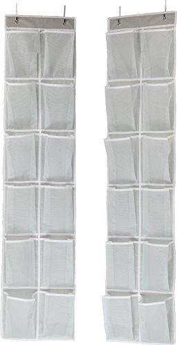 Simple Houseware 24 Pockets - 2PK 12 Large Pockets Over Door Hanging Shoe Organizer Grey 58 x 125