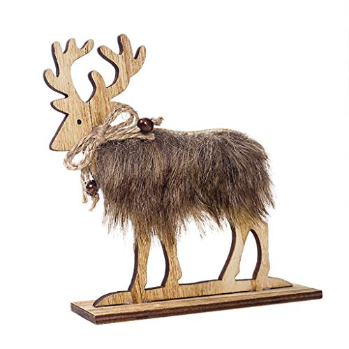 Iusun Tabletop Wooden Felt Elk Merry Christmas Decoration Ornaments Birthday Present Bedroom Desk Decor for Home Office Supplies Gift Box (A, L)