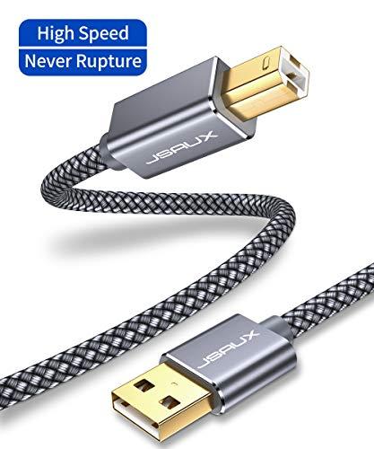 JSAUX USB Druckerkabel 2M Scanner Kabel USB A auf USB B Drucker Kabel für HP, Canon, Dell, Epson, Lexmark, Xerox, Brother, Samsung usw - Grau
