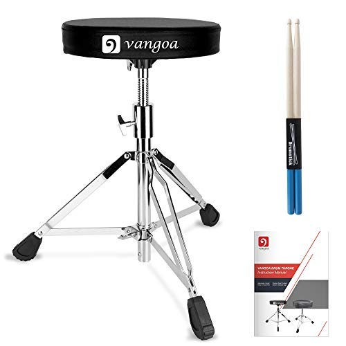 Drum Throne Double Braced Portable Folding Padded Drum Seat Cushion Height Adjustable Tripod Drumming Stools with Rubber Feet, Sticks and User Maunal for Drmmers Adults Kids, by Vangoa