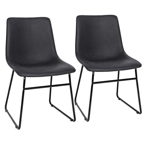 SUPER DEAL Set of 2 Dining Chair - PU Leather Vintage Dining Chairs Armless Diner Chairs with Steel Frame, Black