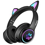 Mokata Gaming Bluetooth 5.0 Wireless Headphones Over Ear Cat LED Light Foldable Music Headset with AUX 3.5mm Microphone for Adult & Kids PC TV Game Music Pad Laptop Cellphone B12 Black