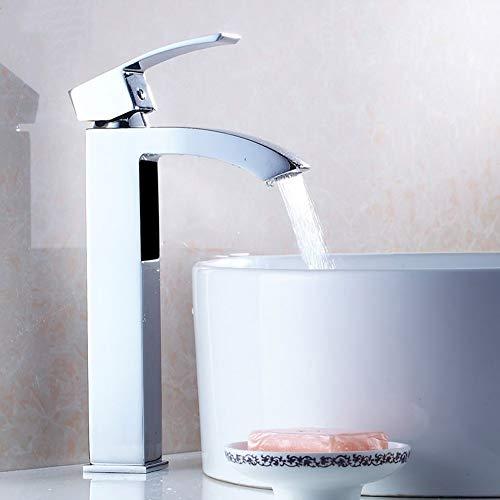 Grifo para lavabo, grifo de agua fría y caliente (28 cm)