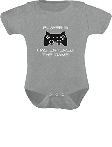 Body para bebê jogador 3 Has Entered The Game presente para 3ª criança gamer, Cinza, recem nascido