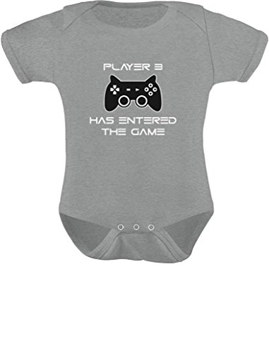 Player 3 Has Entered The Game Gift 3rd Child Gamer Baby Bodysuit 6M Gray