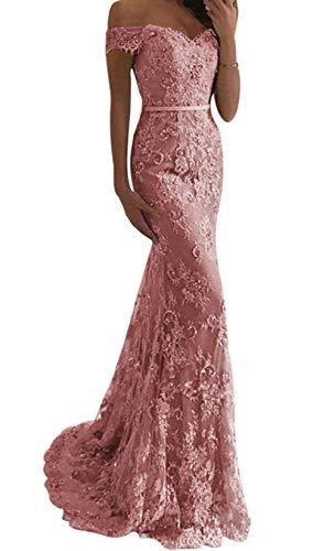 Jaeden Ballkleider Lang Damen Hochzeitskleider Meerjungfrau Spitze Schulterfreie Abendkleider mit Schleppe Staubige rosa EU38