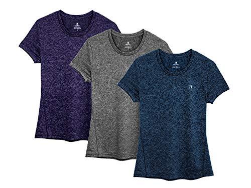 icyzone T-Shirt à Manches Courtes pour Femmes Haut de Sport, Chemise d'entraînement, Lot de 3 (XXL, Bleu Marine/Violet Noir/Gris Anthracite)