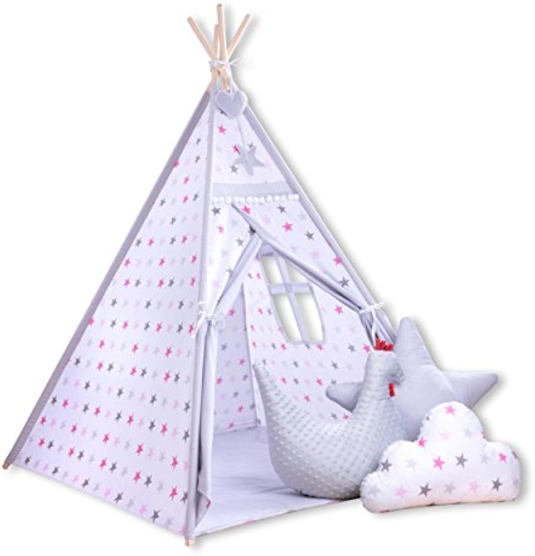 Amilian Tipi Spielzelt Zelt für Kinder T53 (Spielzelt mit Tipidecke mit 3 x Dekokissen)