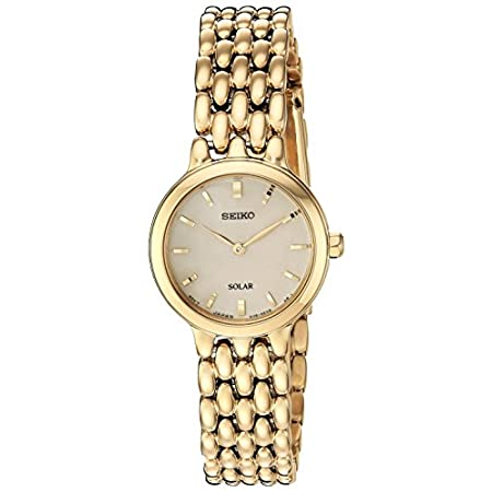 Fashion Shopping Seiko Women's Ladies Dress Japanese-Quartz Watch with Stainless-Steel Strap, Gold, 12 (Model: SUP352)