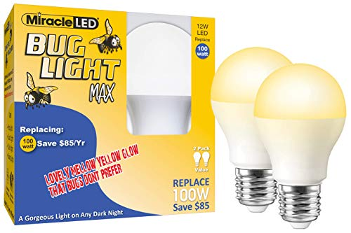 Miracle LED Yellow Bug Light MAX - Replaces 100W - A19 Outdoor Bulb for Porch and Patio - 2 Pack (606758)