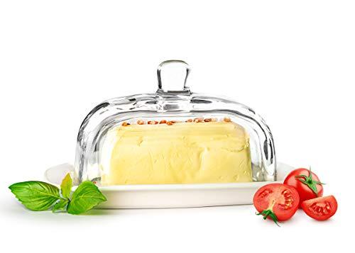 Sendez Große Butterdose auf Porzellanteller Butterglocke Butterschale Kühlschrankbutterdose