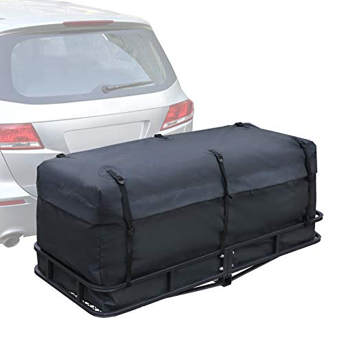 XCAR Hitch Mount Cargo Carrier Bag 16.8 Cubic Waterproof Luggage Storage Bag Black Traveling Bags for Car Truck SUV