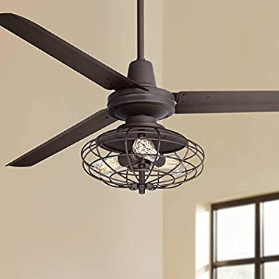 """60"""" Turbina Industrial Ceiling Fan with Light Kit LED Dimmable Remote Control Oil Rubbed Bronze Open Cage for Living Room Kitchen Bedroom Family Dining - Casa Vieja"""