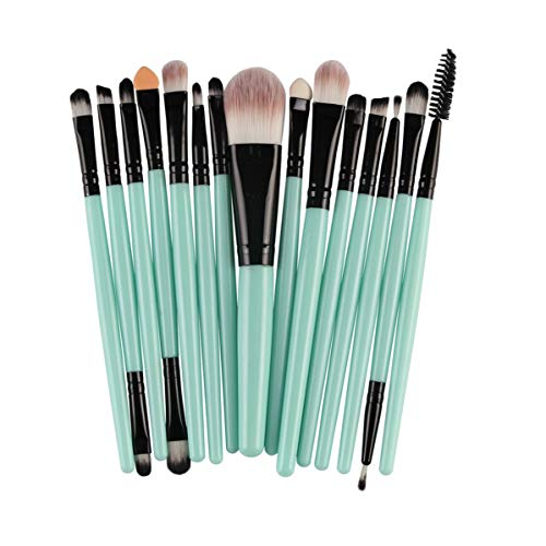 SNUIX Maquillage Pinceaux fard à paupières Sourcils Cils Fondation Pinceau Poudre pinceaux de maquillage, 15pcs (Couleur : Green Black, Size : One Size)