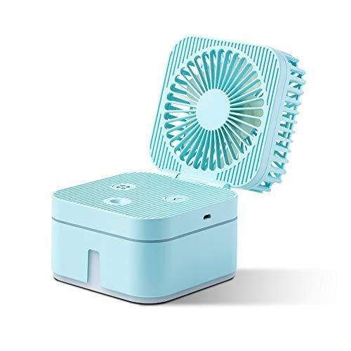 Bureau Ventilator met waternevel verspreiden kleurrijke sfeer Breathing Lamp Nano Spray USB Kleine leuke vorm for Travel Office kamer Household,Blue