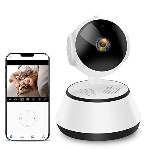 Überwachungskamera, Haustier Kamera mit Bewegungsmelder Nachtsicht und 2-Wege Audio, Baby Kamera mit App unterstützt Smartphone Kontrolle, Kompatibel mit Alexa