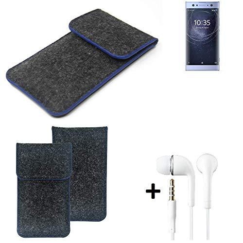 K-S-Trade Filz Schutz Hülle Für Sony Xperia XA2 Ultra Dual-SIM Schutzhülle Filztasche Pouch Tasche Handyhülle Filzhülle Dunkelgrau, Blauer Rand Rand + Kopfhörer