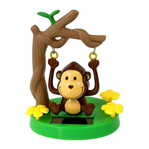 Rivetino Car Solar Ornaments Dancing Animal Swinging Animated Bobble Dancer Toy Car Decor Wing Monkey Car Dashboard Home Ornaments Children's Toys and Gifts