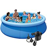 Kracie 10ft 30in Inflatable Kiddie Pool for Summer Relax - Swimming Pool for Kids and Adults - Easy Set Up Above Ground Pools for Backyard with Electric Air Pump