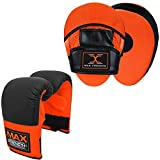 MAXSTRENGTH - Juego de manoplas y manoplas de boxeo para artes marciales, artes marciales, artes marciales, artes marciales, artes marciales, artes marciales, artes marciales, artes marciales, artes marciales, Set de almohadillas y manoplas naranja/negro