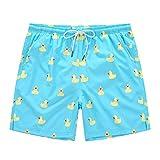 YuKaiChen Men's Swim Trunks Quick Dry Beach Swim Shorts Mesh Lining Board Shorts Swimwear Bathing Suits Yellow Duck 32(XL)