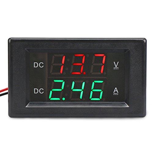 DROK DC 0-300V Amp Volt Digital Multimeter, 0-20A Five-Wire Ammeter Voltmeter, Digital Tester Multimeter with 0.39 Inch Voltage Current Dual LED Display, Electronic Meter Panel Gauge for Car Auto