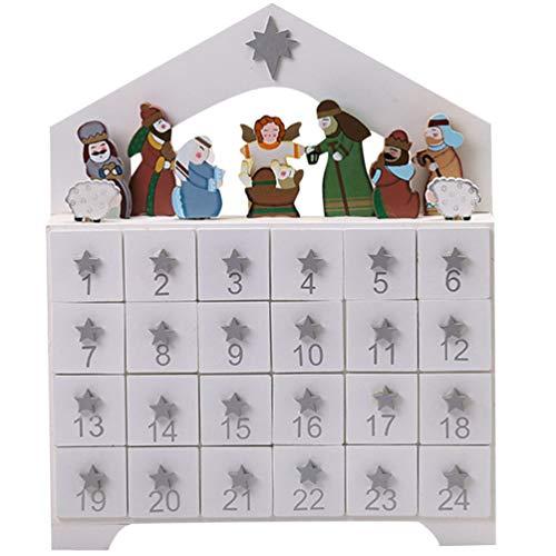 GARNECK Cuenta Regresiva de Madera Calendario de Adviento Cascanueces Calendario de 24 Días Cajón de Escritorio de Navidad Adorno Decoración